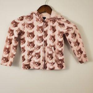 Gap kids xs kitty cat print pink hoodie